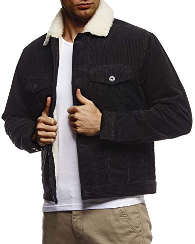 Leif Nelson Herren Kordjacke Basic Stretch Jacke mit Reverskragen innen gefüttert Reverskragennjacke Übergangsjacke Freizeitjacke Slim Fit LN9610 Größe M Schwarz