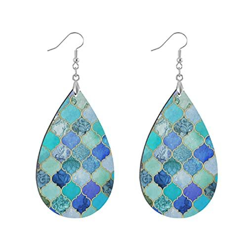 Pendientes de madera de moda gota colgantes ligeros lágrima pendientes forma gota pendiente para las mujeres joyería azul cobalto aguamarina oro decorativo