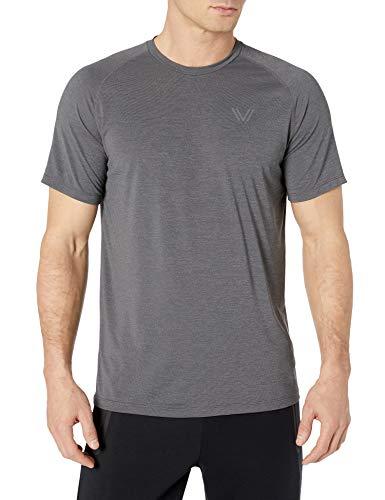 Amazon Brand - Peak Velocity Men's VXE Short Sleeve Quick-dry Loose-Fit T-Shirt, Dark Grey Heather, Large