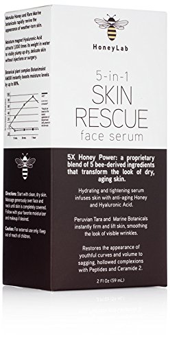 HoneyLab Skin Rescue Face Serum with Manuka Honey, Hyaluronic Acid and peptides. Anti-aging serum contains Marine extracts that soften the look of wrinkles and fine lines. (2oz)