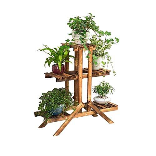 HYY-YY Soporte de flor jardinería estante de la flor del estante soporte de la planta del estante de madera maciza Mesa de la carretilla con la flor - Escritorio en forma de 2 capas travesaño de la ve