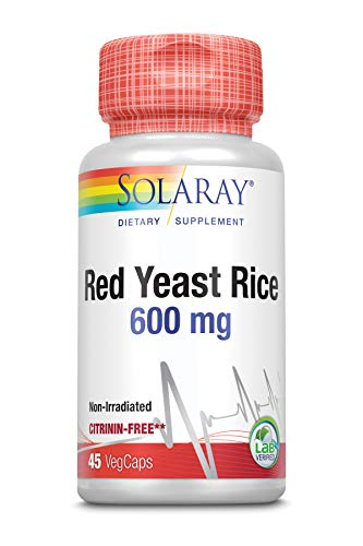 SOLARAY® Rode gistrijst. 45 VegCaps. Cardiovasculaire zorgformule op basis van Monascus purpureus. Glutenvrij. Geschikt voor veganisten.