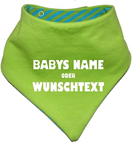 KLEINER FRATZ KLEINER FRATZ Kinder Wendehalstuch uni/gestreift (Farbe lime-royal) (Gr. 1 (0-74)) mit Ihrem Wunschdruck