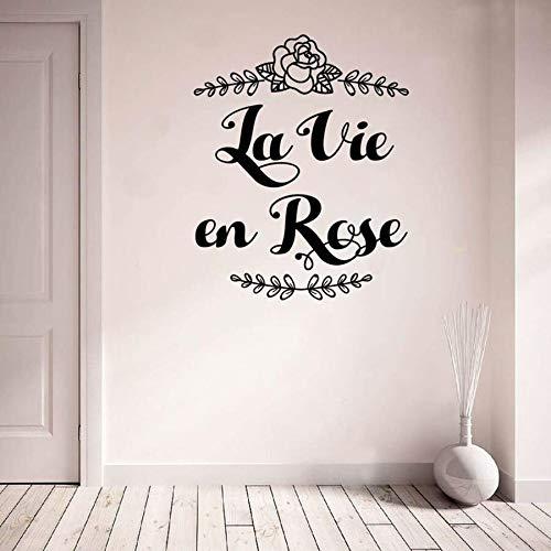 Calcomanías de vinilo en la vida de la pared en rosa refranes franceses escritura caligrafía pegatinas de pared flor rosa arte decoración del hogar