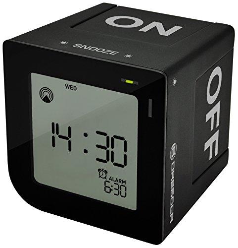 Bresser DCF Funkwecker FlipMe mit ansteigendem Crescendo Alarm und LCD-Display mit Hintergrundbeleuchtung mit Aktivieren der Weckzeit durch Kippen des Weckers und Soft-Touch Snooze Button, schwarz