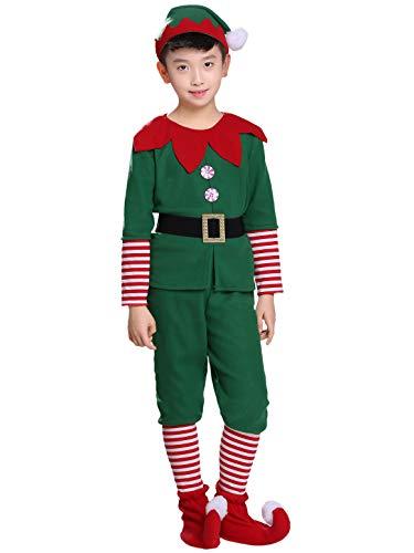 YOSICIL Niñas Niños Disfraz de Navidad Conjunto Disfraz Elfo Pantalones+Gorra+Calcetines Duende Costume Elfo Traje Navideño para Adultos 2-16 Años