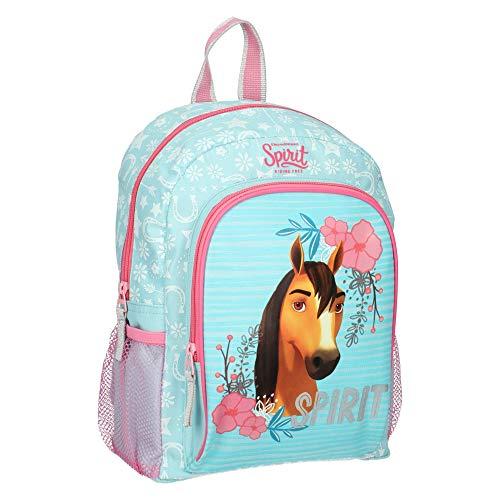 SPIRIT Kinderrucksack für Mädchen Wild und Frei Pferd - Tasche mit Flashenhalter - Blau mit Rosa