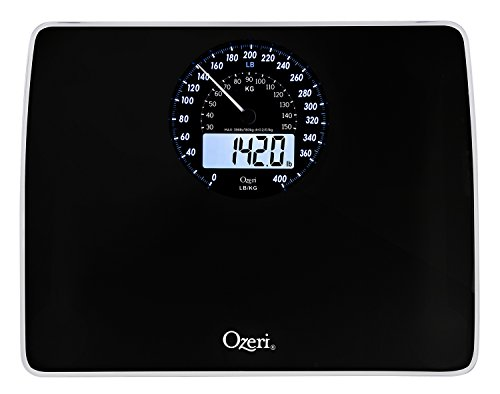 Ozeri Rev Digital Bathroom Scale with Electro-Mechanical Weight Dial, Black