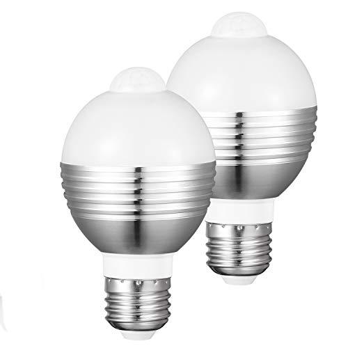 【2個セット】LED電球 人感センサー E26 E17 センサーライト センサー電球 高輝度 自動点灯 消灯 7W 50形相当 口金 消し忘れ防止 省エネ 玄関、廊下、階段、洗面所、クローゼットに最適 (昼白色)Merisny