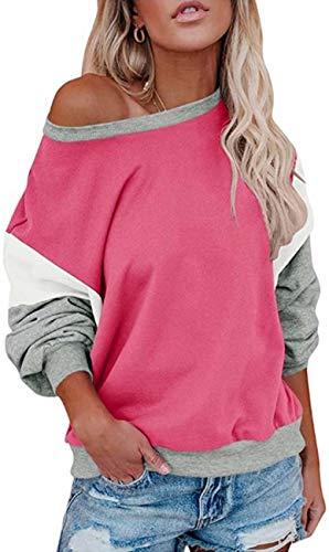 Yidarton Donne Sciolto Blocco Colore Felpa Manica Pipistrello Pullover Top Casual Girocollo Tunica T-shirt Autunno Maglione Top rosa M