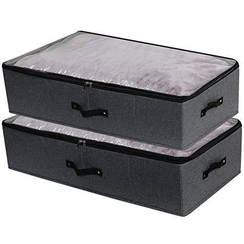 iwill CREATE PRO 2er-Pack, sichtbare, zusammenklappbare Organizer-Ablagefächer, starre Lagerbehälter mit Deckel, Schwarzgrau
