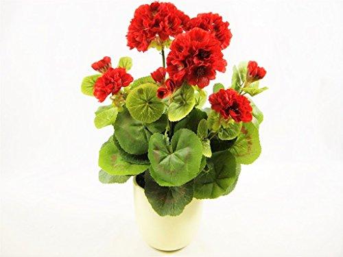 38cm Getopfte Seide rot Geranien Künstliche Blumen ~ House Pflanze