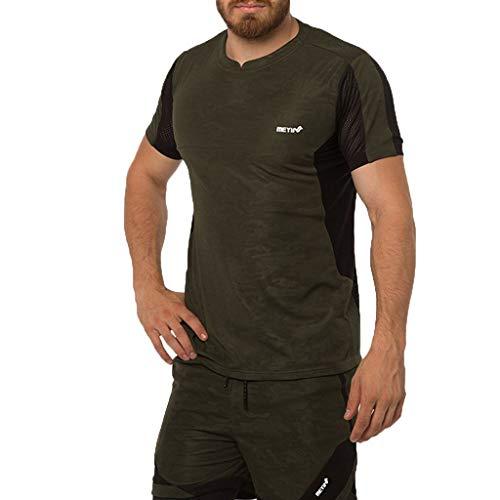 Yowablo Herren Stretch Slim Cneck Tee T-Shirt Casual Fitness Schnelltrocknender elastischer Kurzarm-Sportanzug mit kurzen Ärmeln (XL,Armeegrün)