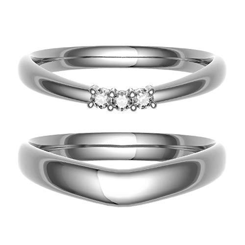 [ココカル]cococaru ペアリング 結婚指輪 シルバー 2本セット マリッジリング ダイヤモンド 日本製(レディースサイズ7号 メンズサイズ11号)