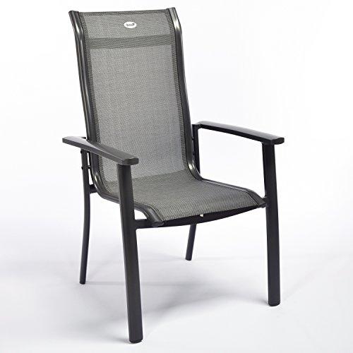 Hartman Alice Gartensessel in anthrazit, Aluminiumgestell, Sitzfläche aus Textilene, 68 x 65 x 107 cm, Gartenstuhl wetterfest
