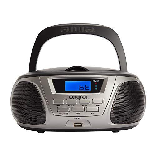 Aiwa BBTU-300BK: Radio CD Portátil con Bluetooth, USB, Aux In, Sintonizador de radio, Edición especial Infantil para niños y niñas