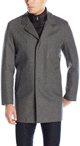 Cole Haan Men's Waterproof Wool Topper with Quilted Bib, Faux Shearling Interior