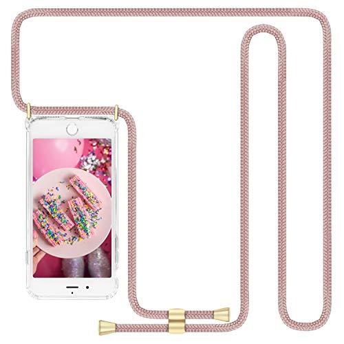 Imikoko Handykette Hülle für iPhone 7 Plus/8 Plus Necklace Hülle mit Kordel zum Umhängen Silikon Handy Schutzhülle mit Band - Schnur mit Hülle zum umhängen Rosegold