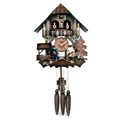 River City Clocks One Day Musical Cuckoo Clock Cottage with Dancers, Woodchopper, and Waterwheel - 12 Inches Tall - Model # MD442-12P