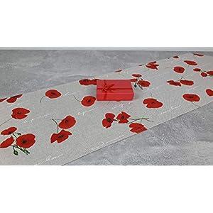 """ASTRA Sommer-Collection Tischläufer""""Mohn"""" mit Spitzecken, Dekostoff Leinenoptik, pflegeleicht, beige- rot, 135/30 cm"""