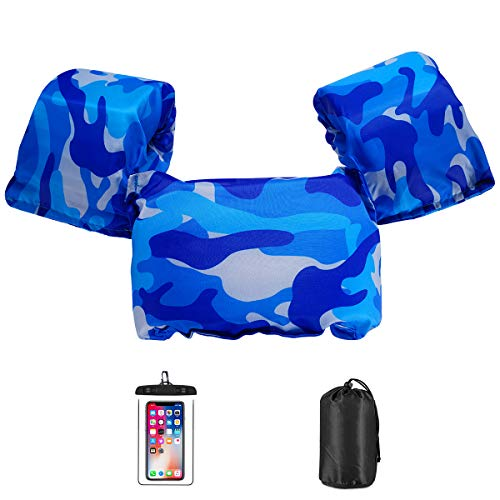 AmazeFan Kids Swim Life Jacket Vest for Swimming Pool, Swim Aid Floats with Waterproof Phone Pouch and Storage Bag,Suitable for 30-50 lbs Infant/Baby/Toddler/Children/Sea/Beach