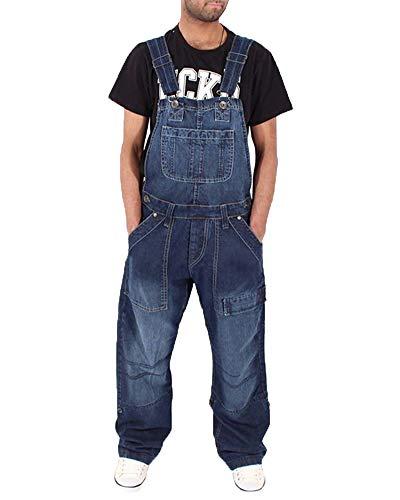 DianShaoA Herren Retro Lange Jeans Latzhose Denim Overalls Lose Stone-Washed Multi-Tasche Jumpsuit Dunkelblau S