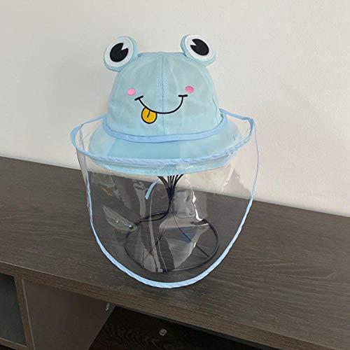 Chapeau de pêcheur Anti-salive Enfants Anti-Spray Chapeau Pur Coton bébé Chapeau Enfants Bassin de Protection Chapeau-Amovible Big Eye Frog Blue_52-54cm