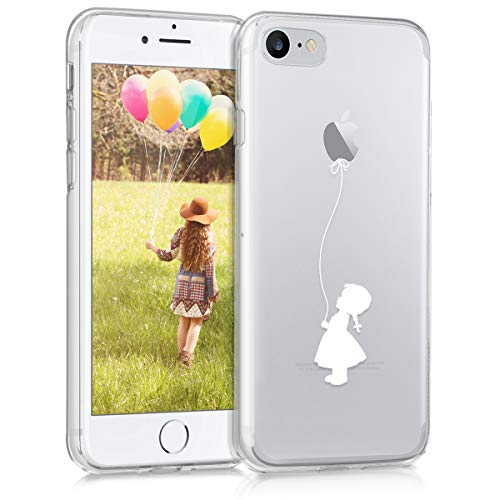 kwmobile Cover Compatibile con Apple iPhone 7 - Custodia in Silicone TPU - Backcover Protettiva Cellulare Ragazza con Palloncino Bianco/Trasparente