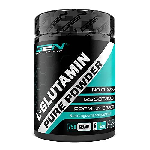 L-Glutammina in polvere - 750 g - Premium: L-Glutammina pura e ultrafine senza additivi - 100% aminoacido L-Glutammina micronizzato - Neutro non aromatizzato - Altamente dosato - Vegan