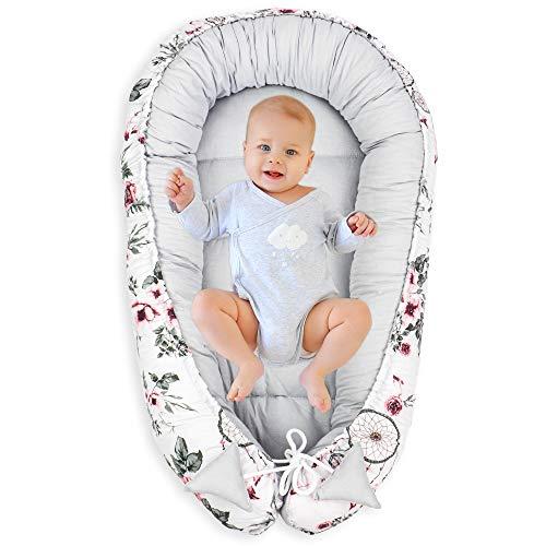 Nido para Bebe - Reductor de Cuna Nido Bebe Recien Nacido algodón con Certificado Oeko-Tex (Atrapasueños - Algodón Gris, 90 x 50 cm)