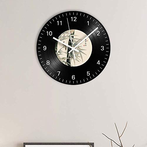 FDGFDG Chinesisches Sprichwort Bambus Digital Record Wanduhr Modernes Design Silent Decorative Vinyl Record Clock Home Decor