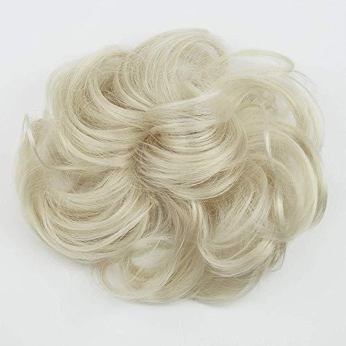 PRETTYSHOP Haarteil Haargummi Hochsteckfrisuren Brautfrisuren Voluminös Gelockt Unordentlich Dutt Platinblond G16A