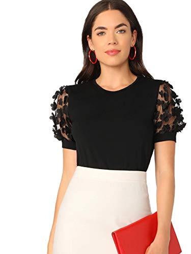 Romwe Women's Summer Short Sleeve Mock Neck Casual Blouse Tops Floral Black Large