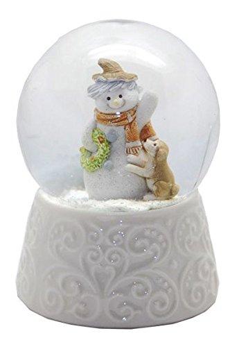 Minium Collection 20085 Schneekugel Schneemann mit Hund weißer Porzellansockel 65mm Durchmesser - Luftblase