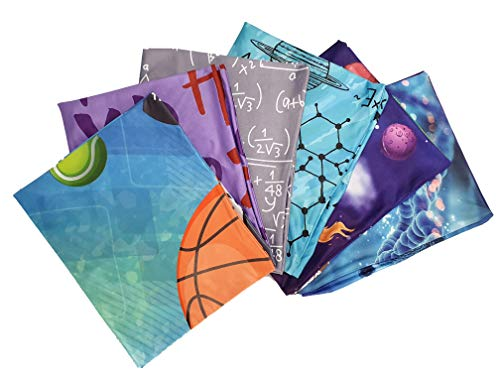 Stretchable Fabric School Book Covers - 6 Pack with Bookmark Ribbon on Each Cover. Fits Most Hardcover Textbooks up to 9 x 11 Fabric Book Protector (Jumbo, School)
