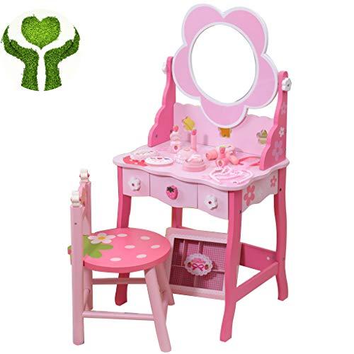 Meisje make-up speelgoed Creatieve Bloemvormige Houten Kaptafel Voor Kinderen Simulatie Van Het Speelhuis Make-up Speelgoedset Girl's Vanity Gift Giving (Color : Pink, Size : 92 * 49cm)