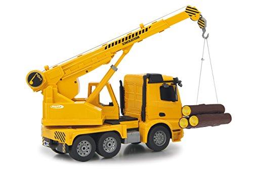 RC Auto kaufen LKW Bild 4: Jamara 404950 - Schwerlastkran Mercedes Arocs 1:20 2,4G – drehbarer und ausfahrbarer Kran, Seil heben / senken, realistischer Motorsound, Hupe, Rückfahrwarnsound, 4 Radantrieb,gelbe LED Signallichter*