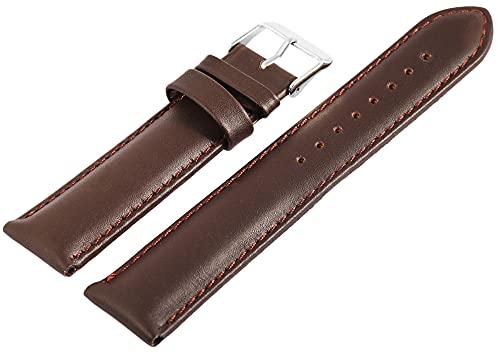 Excellanc-Uhrenarmband Ersatz Echt Leder Edelstahl Dornschließe Breite 18-24 mm (Stegbreite: 22 mm, braun)