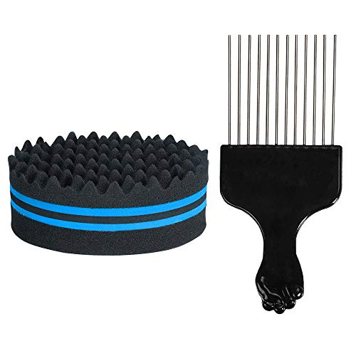 Ajcoflt Hair Brush Sponge with Big Holes Metal Hair Pick Comb Double-sided Sponge Afro Comb for Hair Styling