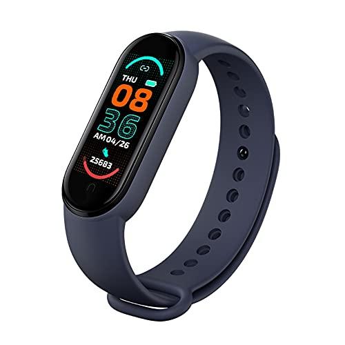XinTengDa 2021 Nuevo M6 Reloj de pulsera inteligente, seguimiento de actividad, monitor de ritmo cardíaco, monitor de presión arterial, pantalla a color IP67 impermeable para teléfono móvil (azul)