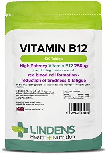 Lindens Vitamin B12 250 mcg Tabletten | 120 Verpackung | Starke 10000 % NRV Dosis. Unterstützen einen gesunden Stoffwechsel und bekämpfen Erschöpfung