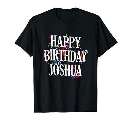 Herren Happy Birthday Joshua Jungen Vorname Buntes Geburtstag T-Shirt