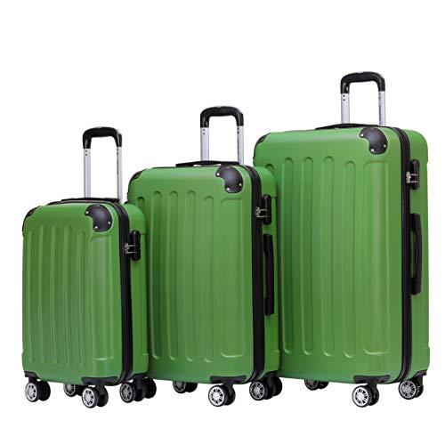 BEIBYE Zwillingsrollen Hardcase Reisekoffer Koffer Trolleys Hartschale in XL-L-M in 14 Farben (Olive, Kofferset)