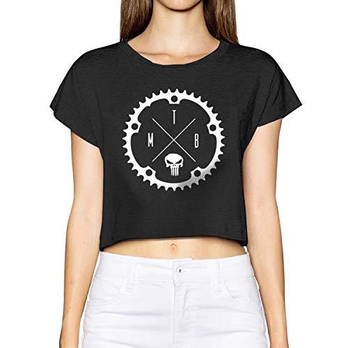 Women's Short Sleeve Crop T-Shirt Mountain Bike Graphic Printed Top Black