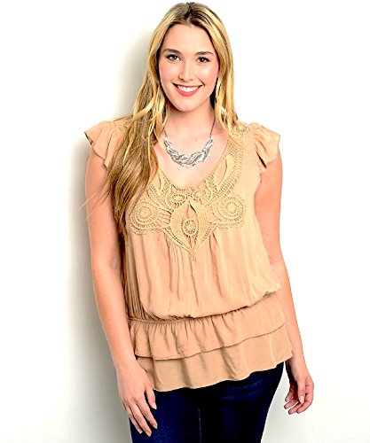 Zenobia Women's Top Plus Size Embroidered Neck Cap Sleeves Mocha Zenobia  via @amazon