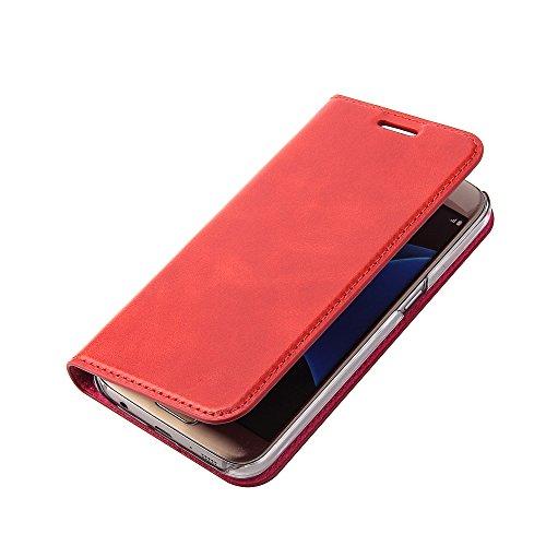 Wormcase ® Handytasche kompatibel mit Samsung Galaxy S7 - Echtleder - HANDGEFERTIGT - KARTENFACH – MAGNETVERSCHLUSS - Farbe Rot - Case Ledertasche Etui Flip Case Cover Schutz-huelle Echtleder-Hülle