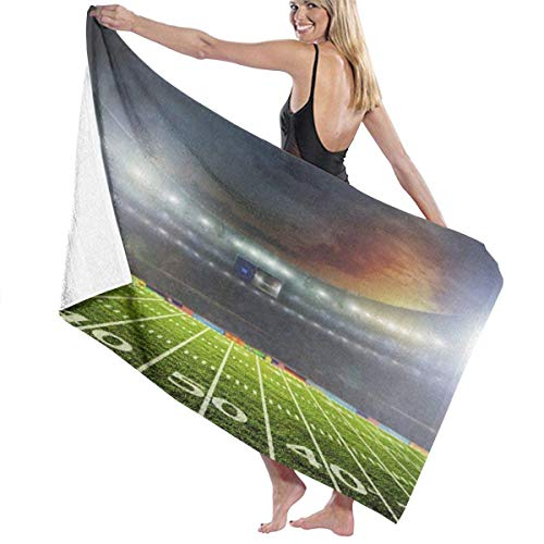 maichengxuan Unisex Beach Towel, Rugby Field (1) Adult Microfiber Beach Towel Large 31x51 Inch Quick Drying Eco Friendly Multipurpose Use Bath Towel for Women Men