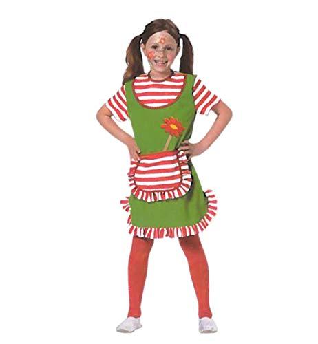KarnevalsTeufel Kinderkostüm Göre mit Blume grünes Kleid mit rot-weiß gestreiften Details freches Mädchen (128)