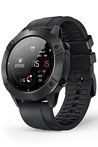 CUBOT Smartwatch da uomo, cardiofrequenzimetro, 450 mAh, impermeabile 5ATM, orologio da polso sportivo, contapassi fitness tracker, compatibile con iOS e Android. Nero