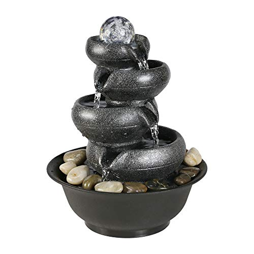 BBabe Flowing Pot Table Waterfall Fountain 11 2/5', 4 Tier Indoor Fountain Zen Meditation Waterfall with Ball LED Light for Home Office